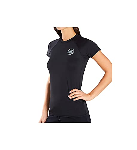 Body Glove Women's Motion Solid Short Sleeve Rashguard with UPF 50+, Smoothies Black I, Small