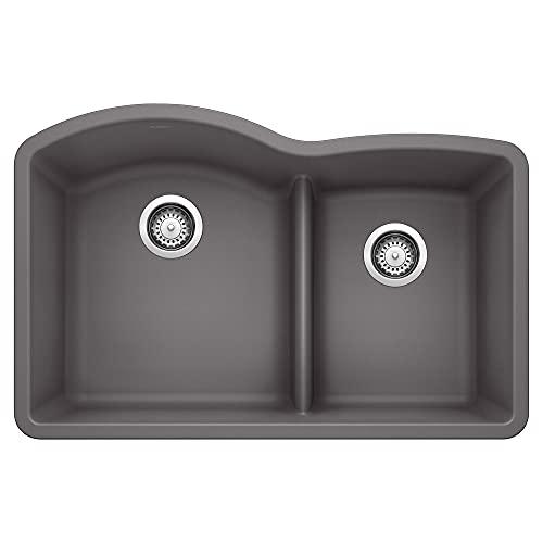 "BLANCO, Cinder 441591 DIAMOND SILGRANIT 60/40 Double Bowl with Low Divide Undermount Kitchen Sink, 32"" X 21"""