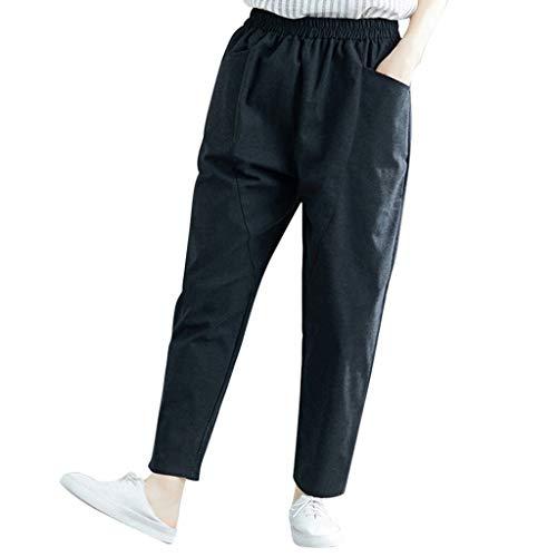 FRAUIT Pantaloni Donna Elasticizzati Vita Alta Pantaloni Larghi Ragazza Estivi Taglie Forti Pantalone Donne Elegante Largo Inverno Autunno