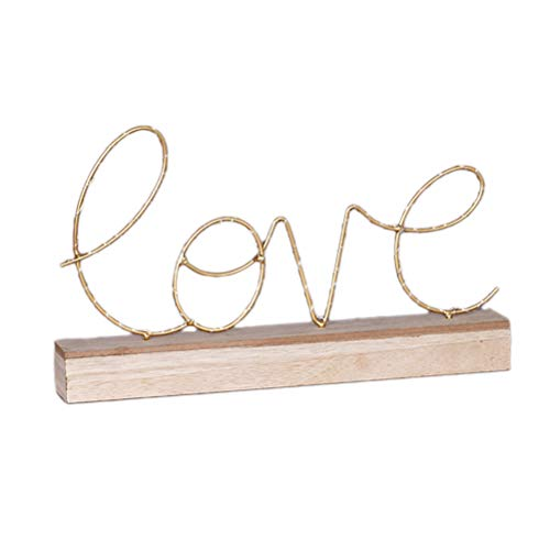 VORCOOL Lampe de Chevet en Fer forgé à Base de Bois LED Love Lettre Veilleuse sans Pile (Love)