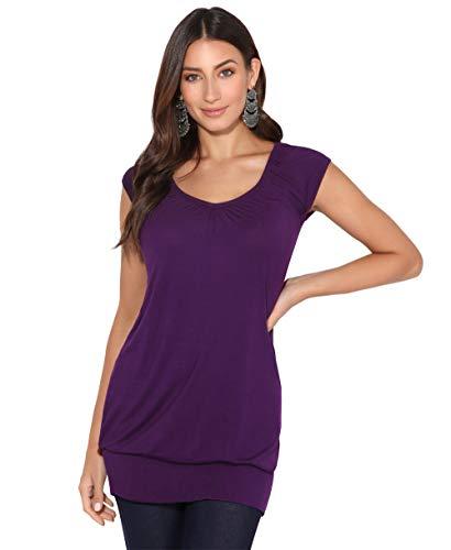 KRISP Damen Sommer T-Shirt Kurzarmshirt V-Ausschnitt Bluse Tunika Oberteil Top, Violett, 42, 7604-PUR-14