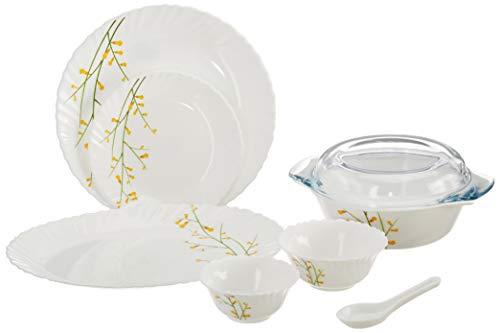 Diva from La Opala Citron Weave Classique Collection Opalware Dinner Set, 35 Pieces, White