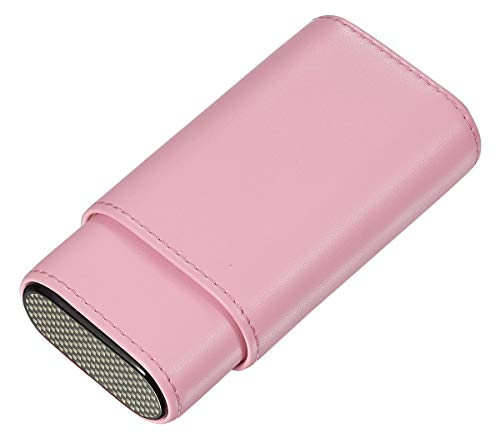 Visol Burgos Leather Cigar Case for Women - Holds 3 Cigars (Pink)