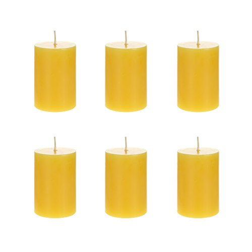 Mega Candles 6 pcs Citronella Round Pillar Candle, Hand Poured Paraffin Wax Candles 2 Inch x 3 Inch, Bug Repellent Candles for Indoor & Outdoor Use, Everyday Candles for Mosquitoes & Insects