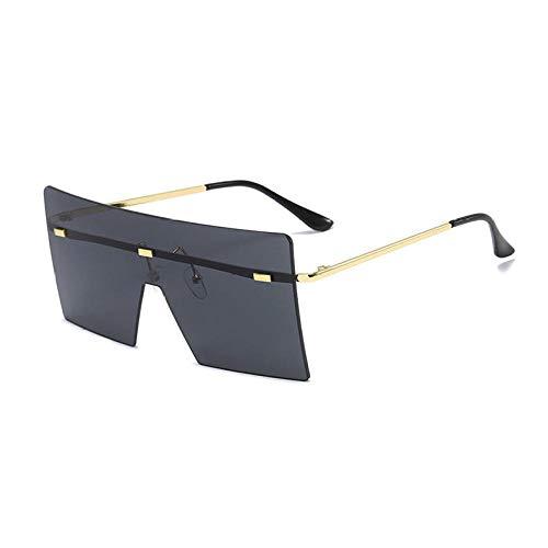 Gafas de sol de una pieza recortadas sin marco Gafas de sol de moda Gafas de sol cuadradas con montura grande Mujer-Marco dorado Película negra