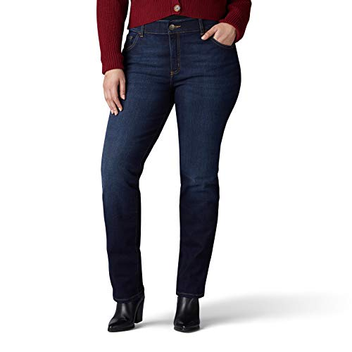 Lee Women's Plus Size Flex Motion Regular Fit Straight Leg Jean, Royal Skyline, 18W Medium