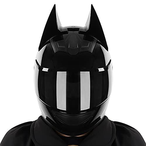 Casco Completo De Batman para Motocicleta Todoterreno, Una Variedad De Lentes Casco De Motocicleta De Carreras De Motocicleta De Bicicleta Eléctrica De Color Negro Brillante para Hombres Y Mujeres
