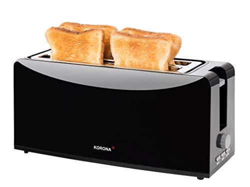 Korona 21044 Langschlitztoaster | schwarz | 4 Scheiben Toaster mit Brötchenaufsatz | Auftau- und Aufwärmstufe | 1200 Watt