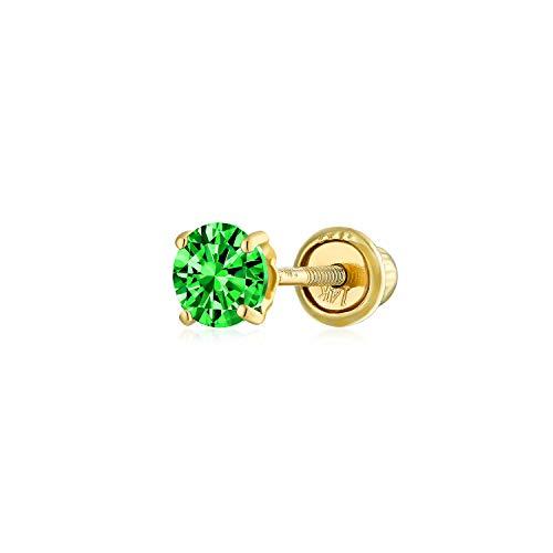 Minimalista pequeño cúbico Zirconia verde simulado esmeralda CZ redondo helix cartílago lóbulo del oído Piercing Daith Round Solitaire 1 pieza Stud Pendiente Real 14K amarillo oro atornillado 3MM