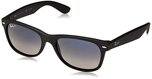 Ray-Ban RB2132 New Wayfarer Sunglasses,52 mm, Matte Black Frame/Blue-Grey Polarized Lens