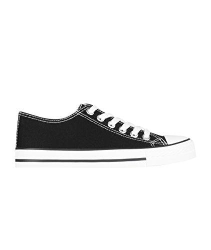 KRISP 2345-BLKWHT-5: Damen Flache Sneaker Turnschuhe Stoffschuhe mit Dicker Sohle (Schwarz-Weiß, Gr.38)