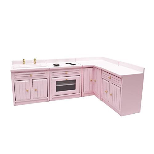 NiceJoy Muñecas Casa Accesorios, Muñecas Casa Muebles Muebles Miniatura Cocina Miniatura Gabinete 1:12 Muñecas De Muñeca Cocina De Madera Muebles Muñecas Casa Cocina Cocina Suministros Rosa