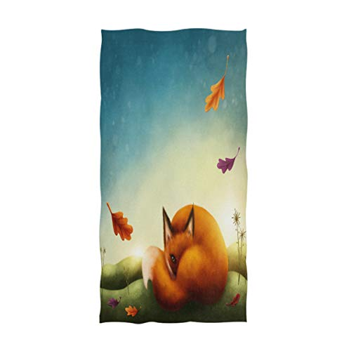 Naanle Fresh Autumn Little Red Fox Print Soft Bath Towel Highly Absorbent Guest Towels Multipurpose for Bathroom, Hotel, Gym and Spa (16' x 30')