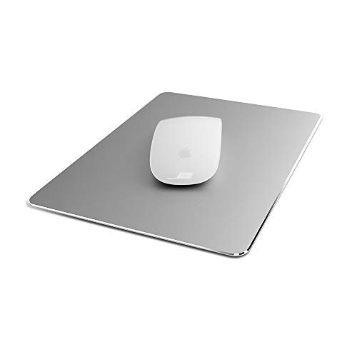Metal Aluminum Mouse pad, Smooth Magical Ultra-Thin Hard Mouse pad for Office and Games, Double-Sided Waterproof, Fast and Precise Control of Laptop, Computer and Personal Computer Mouse pad (Silver)