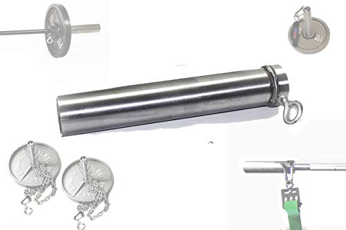 ALLN-1 F2 Adapter: 8' inch Long - 2' Olympic Sleeve, Loading Pin, Resistance Band Connector, Chain Collar, and Yoke Stack 1' or 1.25' Bars with High Capacity Carabiner and Chain (Patent Pending)