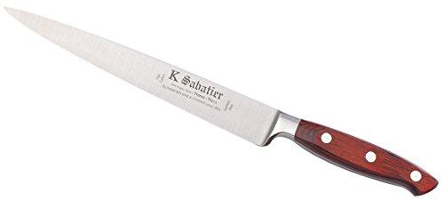 K SABATIER - Tranchelard 20 Cm Gamme Elegance - Acier Inoxydable - Manche Bois - 100% Forge - Entièrement Fabrique en France