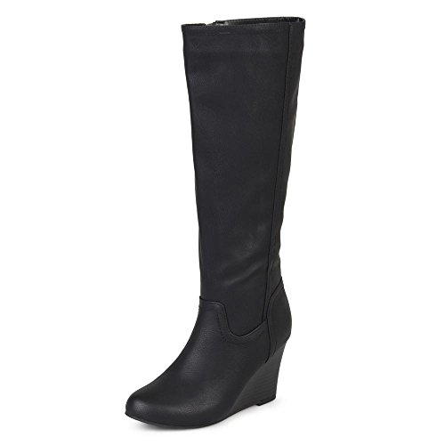 Journee Collection Womens Regular and Wide Calf Round Toe Mid-calf Wedge Boots Black, 6.5 Regular US