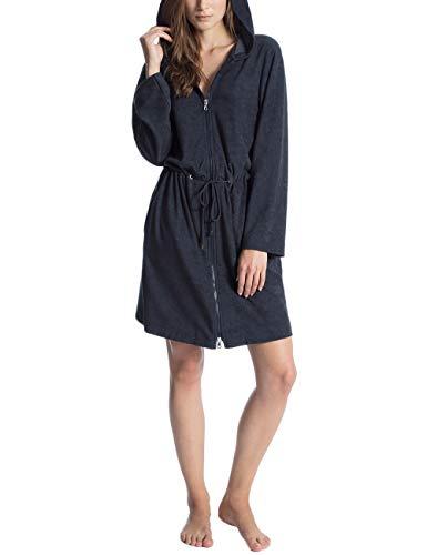CALIDA Damen Cosy Shower Bademantel mit Kapuze Schlafanzughose, Lounge Blue, 44-46