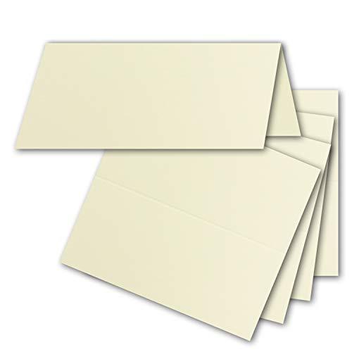 50x Tischkarten in Vanille (Creme) - 4,5 x 10 cm - blanko - Doppel-Karten - als Platzkarten und Namenskarten für Hochzeit und Feste