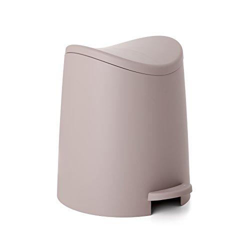 Tatay Papelera Baño con Pedal Estándar, 3L de Capacidad, de Polipropileno, Libre de BPA, Color Taupe, Medidas 19 x 21.8 x 22.1 cm