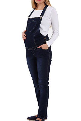 M.M.C. Jeans Schwangerschaftslatzhose | Latzhose | Umstandsmode | Maternity Dungarees | Overall Salopette | Umstandslatzhose der Marke (Dunkelblau,...