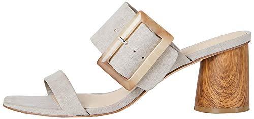 Marca Amazon – find. Large Buckle Block Heel Sandal – Sandalias con punta abierta Mujer