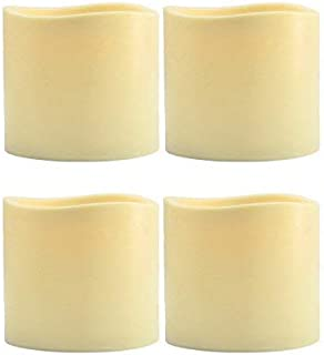 Flameless Candles(Set of 4)Led Flickering Candles 3 x 3 inches Tall - Amber Flame Battery Operated Plastic Pillar Outdoor Votive Candles