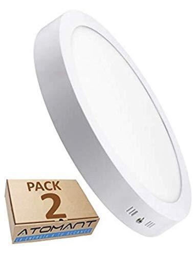 Pack 2x Plafon LED Redondo De Superficie 20W. Color Blanco Frio (6500K). 1800 Lumenes. Driver Incluido.
