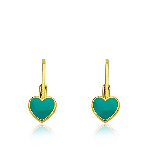 Little Miss Twin Stars Kids Earrings - 14k Gold Plated Turquoise (Blue) Enamel Heart Leverback Girls Earrings For Kids Red Heart Charms Nickel Free Earrings For Sensitive Ears Hypoallergenic Earrin