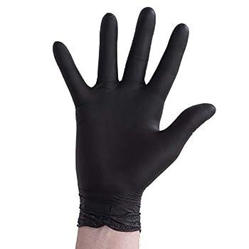 Disposable BLACK Vinyl powder free gloves Chemical resistant non latex non sterile Non medical medium box of 100 gloves
