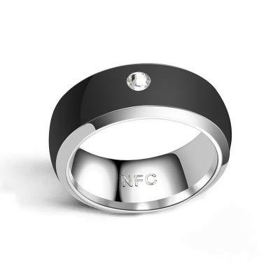 LZW Smart-Ring NFC Ring Motiv Ring Intelligente Ringe Für Männer Motiv Ring Fitness Ring Aura Ring Schlaf-Tracker Intelligenten Ring Ring Echoschleife,Schwarz,7