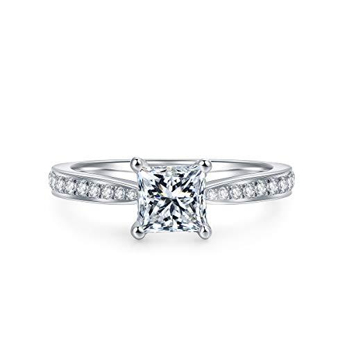 HAFEEZ CENTER 4-Prong Set 1CT Princess Brilliant Cut Solitaire D Color VVS Moissanite Engagement Ring for Women (7.5)
