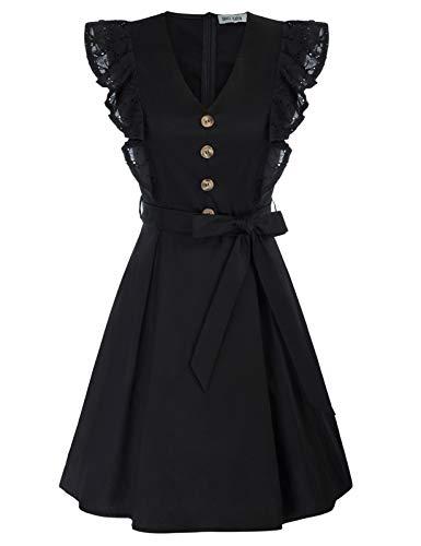 Vestido Mujer de Algodón de Verano Elegante A-línea con Cinturón para Fiesta...