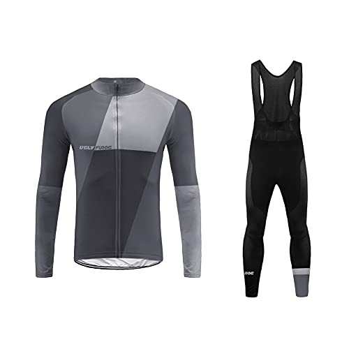 UGLY FROG 77HuDong01 Completo Ciclismo Abbigliamento Set MTB Racing Uomo Inverno Termico Vello Maniche Lunghe Antivento Ciclismo Maglia Lunga e Pantaloni