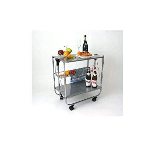 abc HOME living Servierwagen | Rollwagen | Küchenwagen | grau lackierter Stahl, 64 x 40 x 69 cm