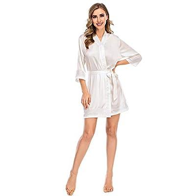 Amazon - 60% Off on Silk Robes for Women Short Satin Kimono Robe Bridesmaid Bride Party Gown Lace