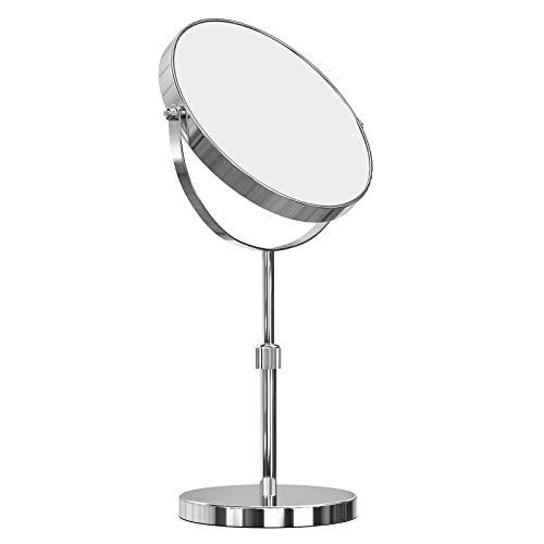SONGMICS 10x Vergrößerungsspiegel, um 360° schwenkbarer Kosmetikspiegel, freistehender runder Make-up Spiegel, Ø 20 cm, doppelseitig, höhenverstellbar, Edelstahl BBM008