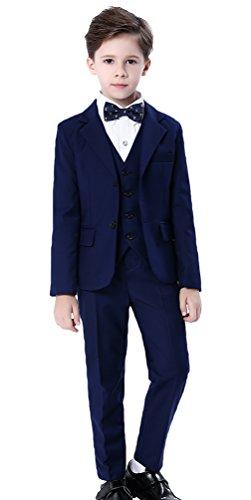 Cloud Kids Kinder Anzug Blau Jungen Festlicher Anzug mit Jacke Hemd Weste Fliege Hose Körpergröße 130