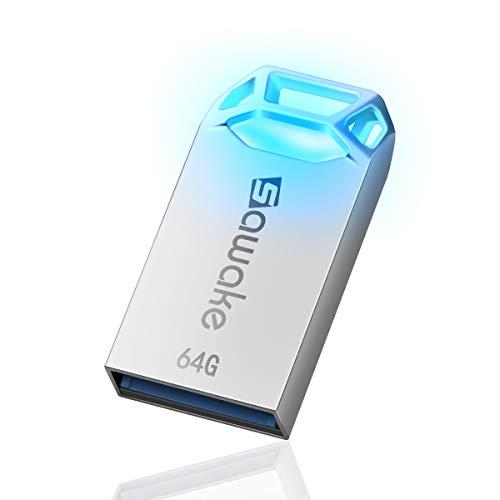 USB Stick 64GB, SAWAKE USB 3.0 Stick, USB Speicher LED Leuchtend Memory Stick wasserdicht Speicherstick mit Schlüsselanhänger Flash Drive 3.0 als Geschenk für Schule, Büro, Zuhause