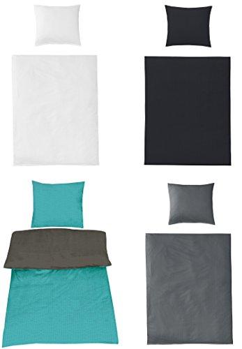 Uni Bettwäsche Baumwolle Seersucker BÜGELFREI in 4 Farben und verschiedenen Größen, 135x200 + 80x80 Wende Stahlgrau/Petrol