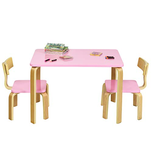 COSTWAY Juego de 1 Mesa y 2 Sillas para Niños Grupo de Mueble de Madera para Cuarto de los Niños Sala de Estar (Rosa)