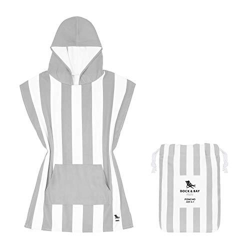 Schnell trocknender Kinder-Poncho mit Kapuze. Kompakt & leicht, passt in jede Tasche. Geeignet für Kinder im Alter von 3 bis 7 (Länge 71 cm) - Minikollektion - Cabana - Goa Grey - Age 8 - 10 years