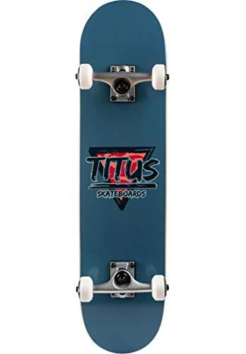 TITUS Skateboards-Complete Triangle, Smoke-Blue, 7.5, Komplett Board, 7 Schichten Ahornholz, bereits fertig montiert, Skateboard für Jugendliche, Erwachsene, Anfänger, Profis, Mädchen und Junge