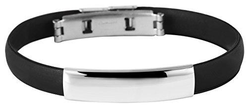 Akzent Kautschuk Armreif Reif Armband Schwarz mit Edelstahl Elementen Silberfarbig Matt und Glänzend 003049000002 sowie einer Faltschließe, Durchmesser 65mm, Breite 9mm