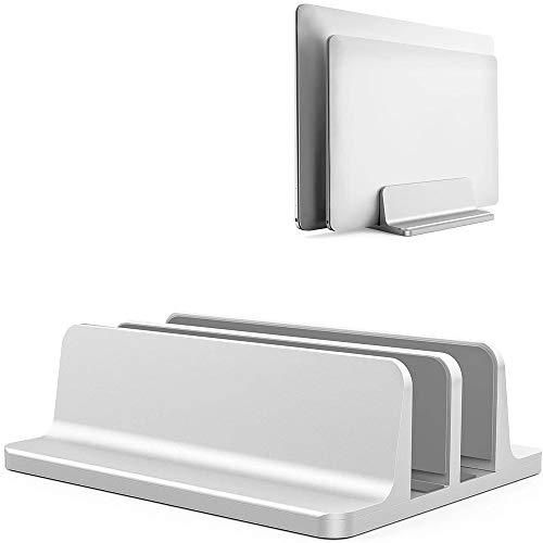YiYunTE - Soporte para ordenador de sobremesa vertical de aluminio, doble capazo, soporte doble de escritorio para ahorrar espacio, doble soporte ajustable para MacBook Laptop PC ECC plateado plateado