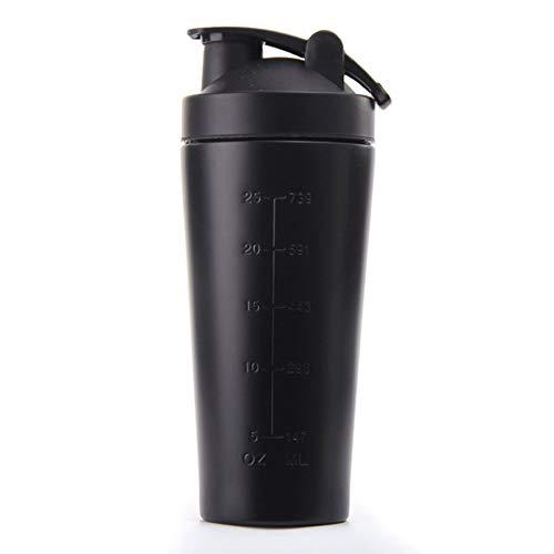 TOOGOO Botella Vibradora de ProteíNa de Acero Inoxidable Gimnasio Shaker Batido Deportivo Batidora Botella de Agua ProteíNa de Suero Fitness Sin BPA Negro