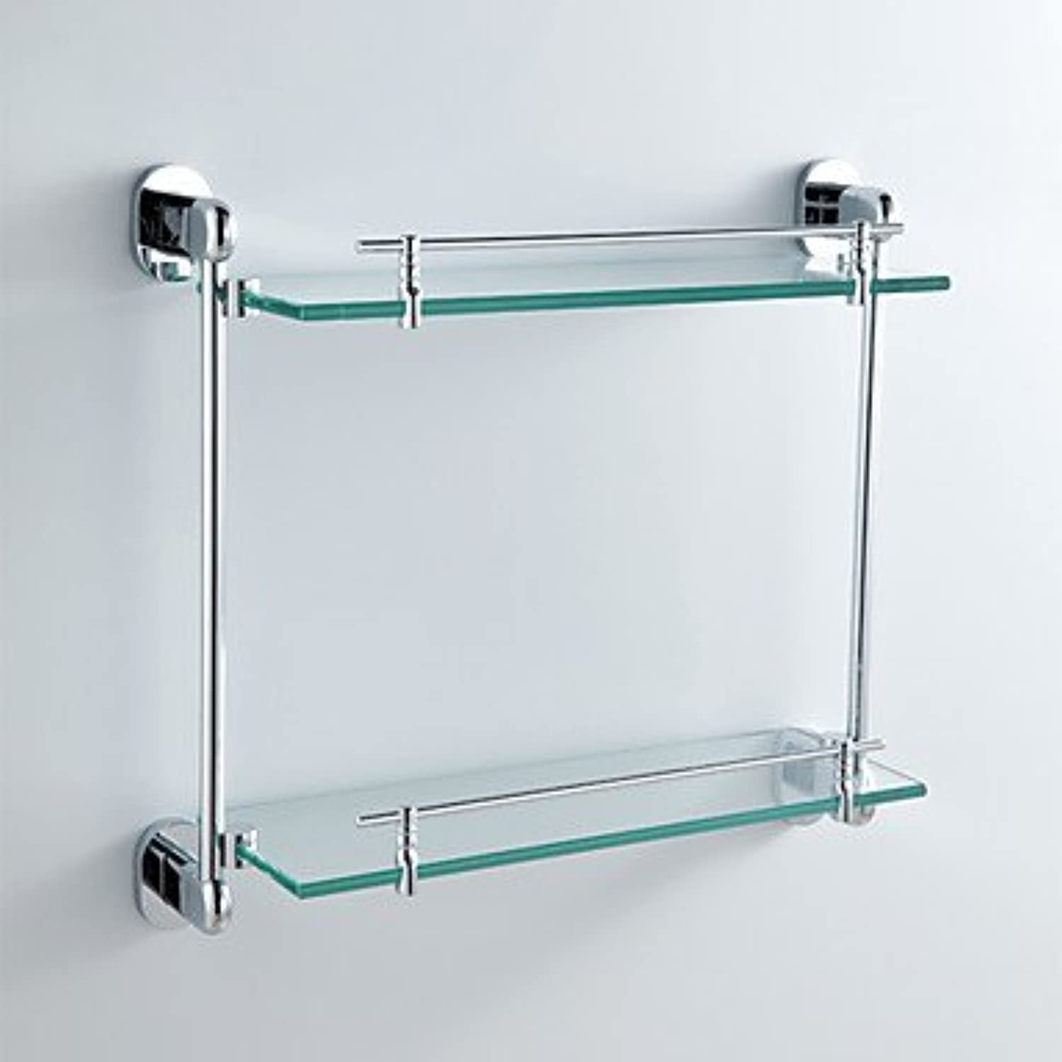 Bathroom Shelf Chrome Wall Mounted 441 x 135 x 400mm (17.3 x 5.31 x 26.7 ) Brass Contemporary