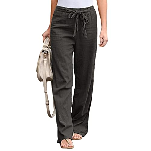 Everrwant Women's Drawstring Elastic Waist Pants Summer Wide Leg Pants Casual Golf Pants with Waistband Grey