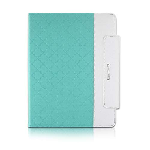 Thankscase for iPad Pro 12.9 2018, Rotating TPU Smart Cover with Pencil Holder [Support Pencil Charging], Swivel Leather Case with Wallet Pocket, Hand Strap for iPad Pro 12.9 3rd Gen -Mint Quatrefoil