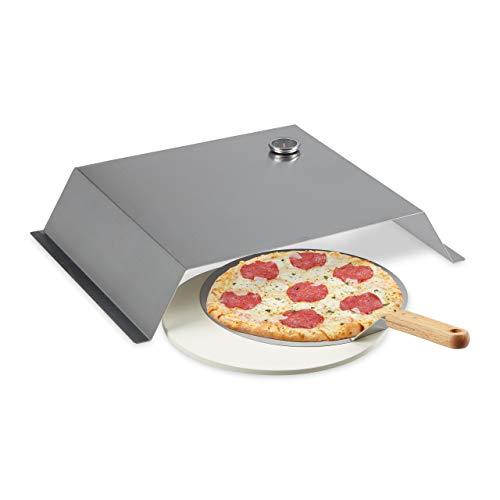 Relaxdays BBQ Pizzaaufsatz, mit Pizzastein & Schieber, Thermometer, Pizza Grillaufsatz, Edelstahl, 10x55,5x40 cm, Silber